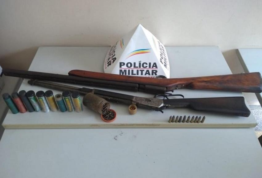 Policia Militar prende caseiro por porte ilegal de armas de fogo em Matozinhos