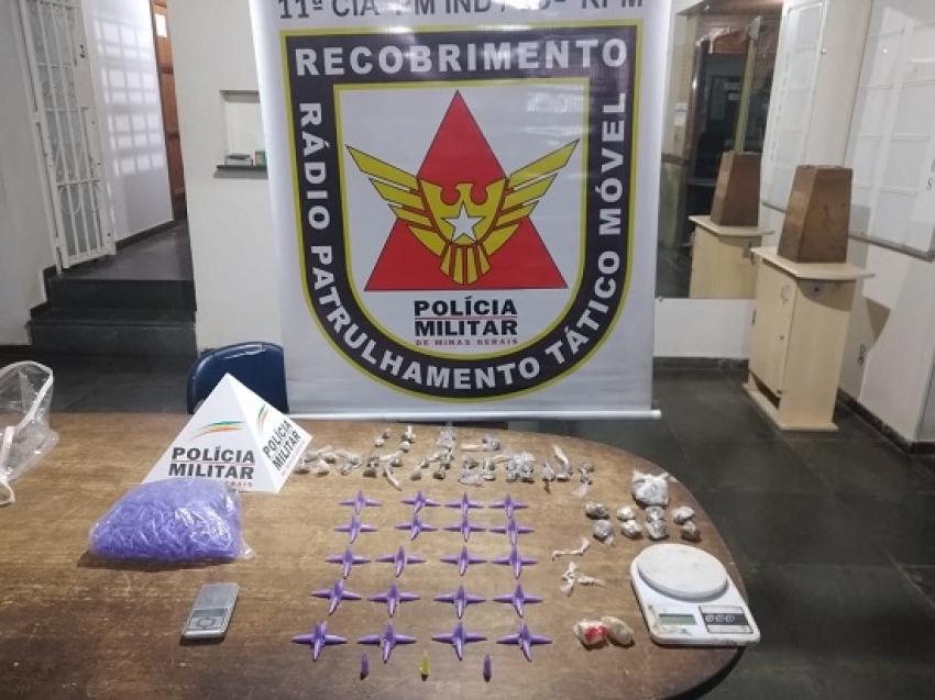 Policia Militar apreendeu drogas, balança de precisão e material para dolagem em Lagoa de Santo Antônio
