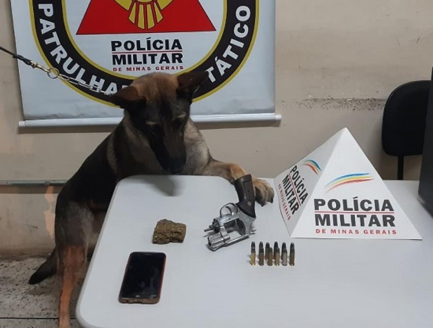 Um indivíduo foi preso no bairro Felipe Cláudio, com ele foi apreendido uma arma de fogo, munição e maconha